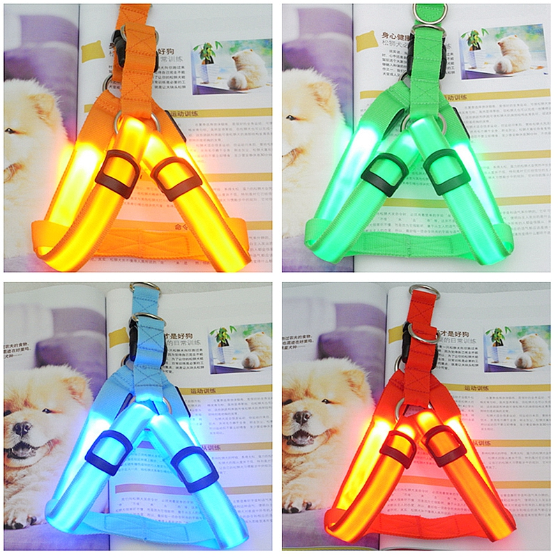 Image 2 - Rechargeable LED Nylon Pet Dog Cat Harness Led Flashing Light Harness Collar Pet Safety Led Leash Rope Belt Dog Accessories-in Harnesses from Home & Garden
