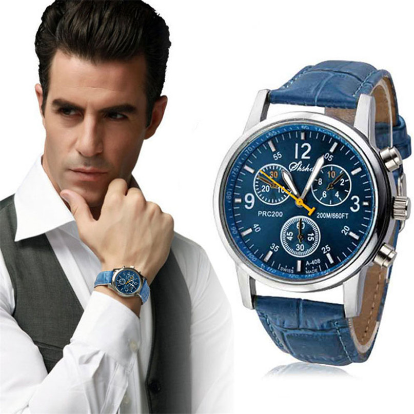 Men Watch Luxury Fashion Faux Leather Mens Blue Ray Glass Quartz Analog Watches Handsome Relogio Masculino Feloj Hombre M1 quartz watch mens luxury crocodile faux leather analog blu ray business wrist watches clock men relogios masculino best gift