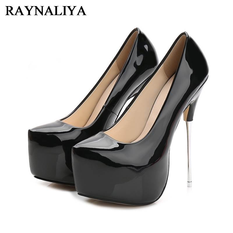 2017 Sexy 16Cm Thin High Heels Women Platform Pumps New Fashion Wedding Party Shoes Red White Shoes Plus Size 35-44 WZ-A0009 new arrivals women s pumps summer sexy thin high heels pumps white platform wedding shoes for women plus size ladies shoes