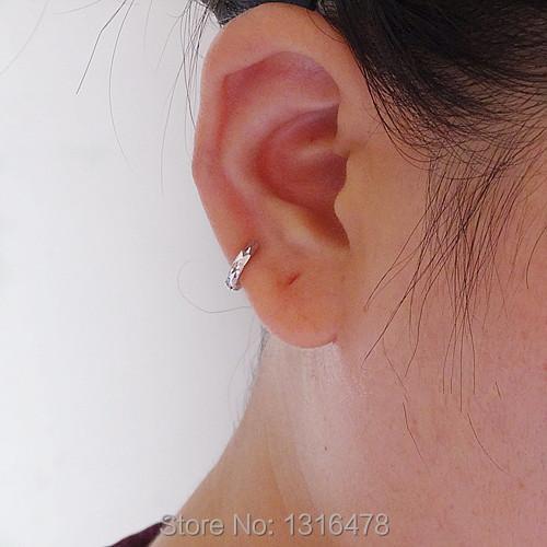 The New Ear Bones Of Small Silver Hoop Earrings S925 Very Lash Grid