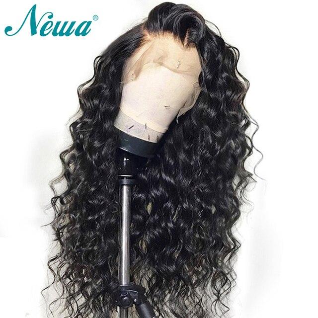 Pelucas de pelo humano frontal de encaje rizado de 150% densidad Pre desplumado con pelo de bebé brasileño 13x6 peluca frontal de encaje para Mujer cabello Remy NYUWA