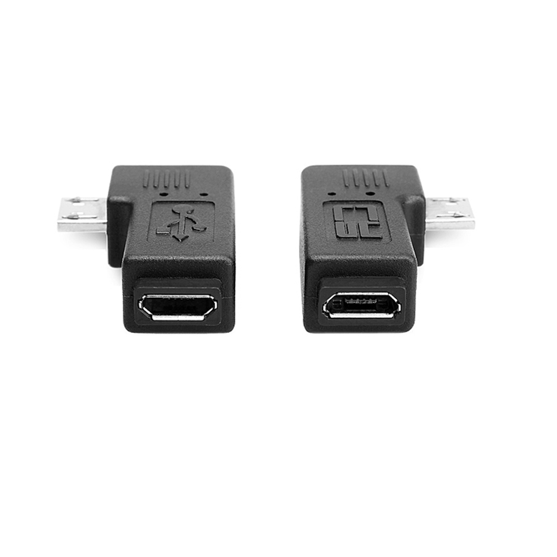 1 Pair Right Left Angle Micro USB Male 90 Degree USB Male To Micro Female Plug Adapters купить