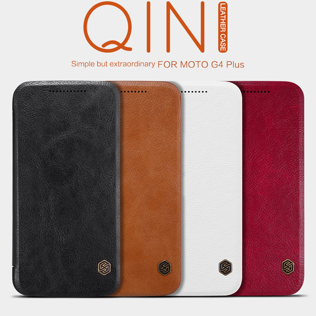 Nillkin High Quality For Moto G4 Plus Leather Flip Protective Cases For Motorola Moto G4 Plus Case With Card Holder
