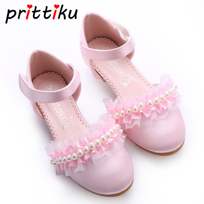 Toddler Children Communion Party Dance Show Princess Sandals Little Girl Formal Dress Flats Big Kid Heeled Bead Mary Janes Shoes