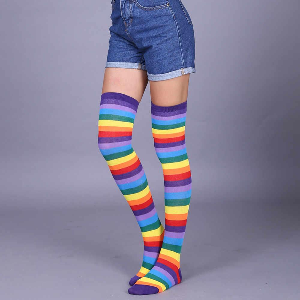 1 paar Neue Frauen Mädchen Über Knie Lange Streifen Gedruckt Oberschenkel Hohe Gestreifte Gemusterte Socken 11 Farben Süße Nette Warme großhandel