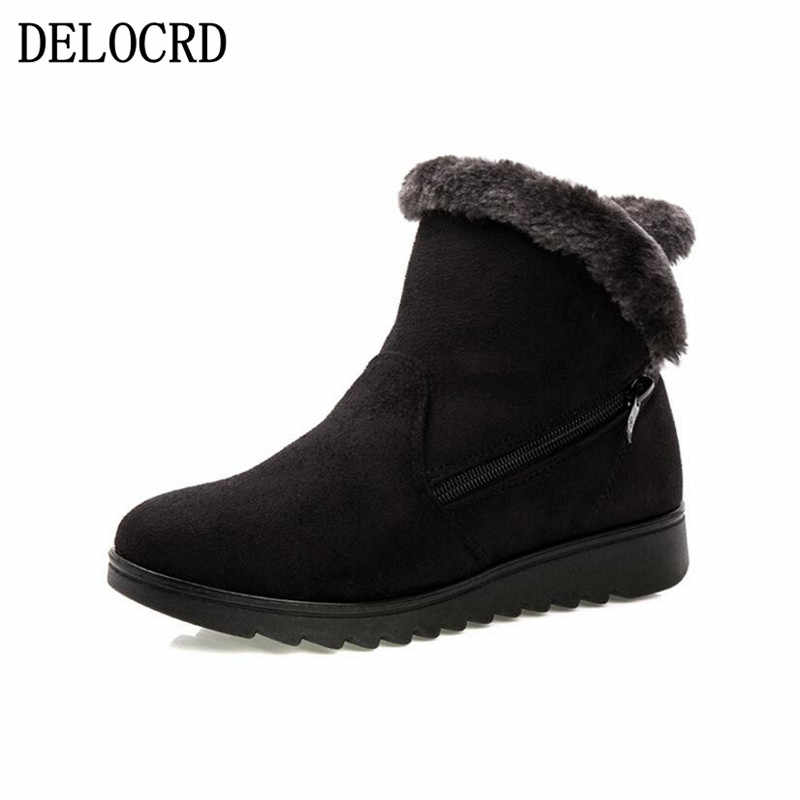 Women Zip Winter Snow Boots Ladies Warm Fur Suede Wedge Ankle Boot Female 2019 Fashion Casual Shoes Comfort Footwear Plus Size