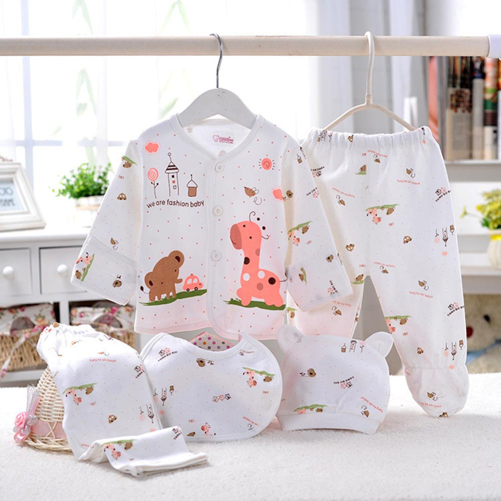 2bb3a42697b4 5pc Cotton Newborn Baby clothing Sets Cartoon design boy girls ...