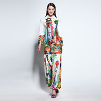 High Quality Newest Fashion Runway Maxi Dress Women S Long Sleeve Retro Art Printed Designer Long