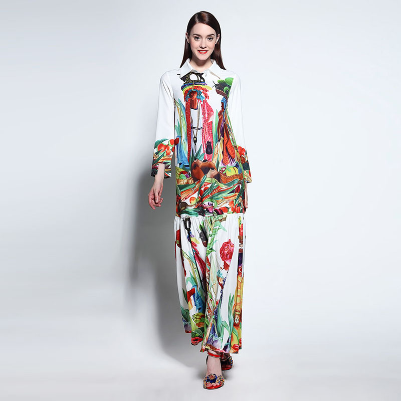 цены High Quality Newest Fashion Runway Maxi Dress Women's Long Sleeve Retro Art Printed Designer Long Dress