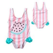 Kids swim suits Cute baby girls Watermelon ruffles swim wear one piece bikini beachwear Pink infant 0-3T bathing suits Biquinis