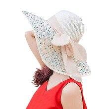 ISHOWTIENDA de verano de las mujeres de gran ala sombrero de paja sol  Floppy ala ancha b9a6e3d1141