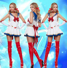 Новое поступление 2017 года женские пикантные белые Сейлор Мун костюм мультфильм Косплэй девушка Меркурий Луна Марс платье для Хэллоуина Костюм