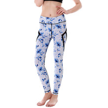 9620eadb73 2017 Fall blue daisy flowers Side black Mesh patches High waisted band running  jegging jogging active