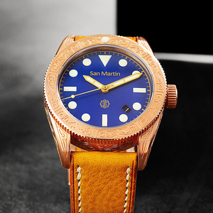 Image 5 - ผู้ชาย Vintage ดำน้ำนาฬิกา Vintage Bronze ดำน้ำแกะสลักนาฬิกาอัตโนมัติ 50ATM Multicolor หน้าปัด Retro Seagull Movement นาฬิกาข้อมือ