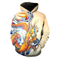 Japanese Koi Dragon Tattoo Pocket Pullover Hoody Men Women Hip Hop Print 3D Sweatshirt Character Hoodie