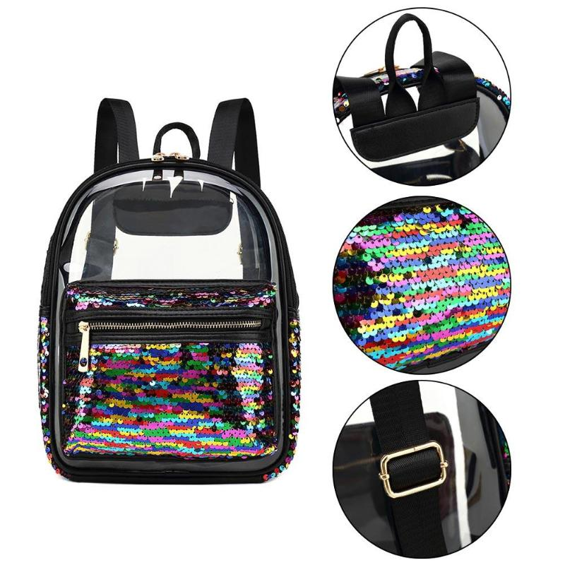 5d12d467d6 Women Clear Sequin Backpack Girls Teenage Transparent Fashion ...