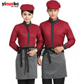 Male Polyester Women And Female Models Catering Waiter 2016 Hotel Uniforms Uniform Tea Restaurant Hot Pot Long Sleeves