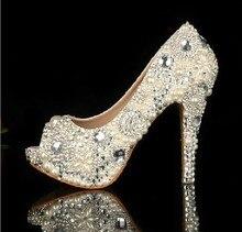 Ivory Peep Toe High Heeled Bridal font b Shoes b font Waterproof Woman Party Prom font