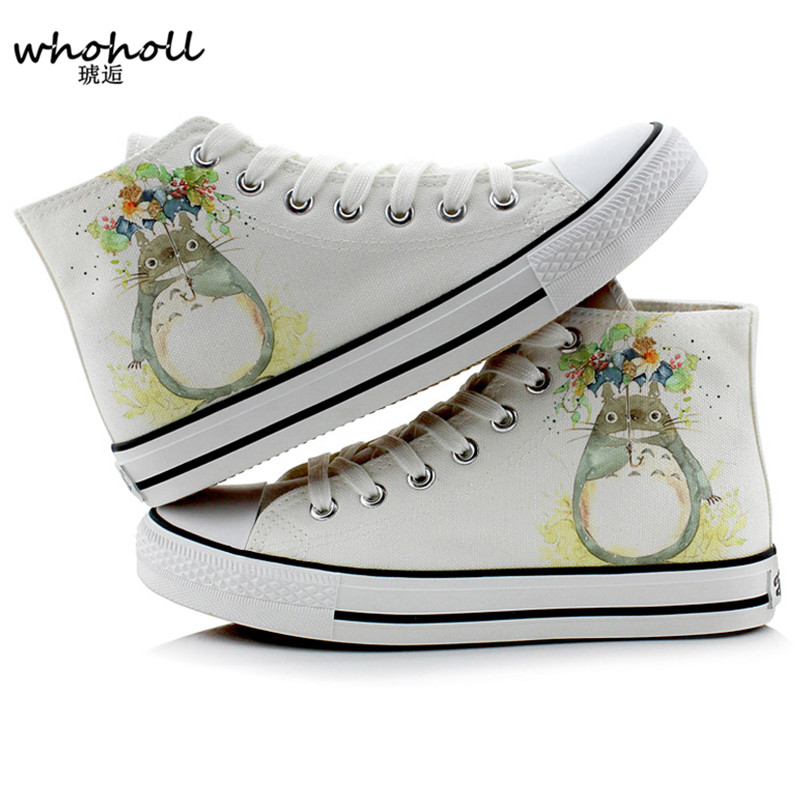 WHOHOLL Flat Shoes Woman Anime Totoro Fashion Canvas Shoes Women Casual High-Top Star Flat Shoes Printing Shoes Sneakers Female e lov women casual walking shoes graffiti aries horoscope canvas shoe low top flat oxford shoes for couples lovers