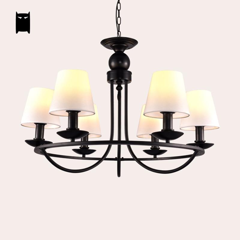 Large Black Wrought Iron Fabric Shade Chandelier Light Fixture Modern  Hanging Lamp Lustre Avize Luminaria Dining Living Room