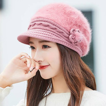 MAERSHEI 2018 Elegant Woman Rabbit Hair Beret Warm Plus Velvet Mom Hat Beanies Knitted Cap Gorros