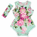 Navy Blue Pink Hot Pink Floral Flower Pom Rompers For baby girls shabby chic romper, baby playsuit, baby floral romper
