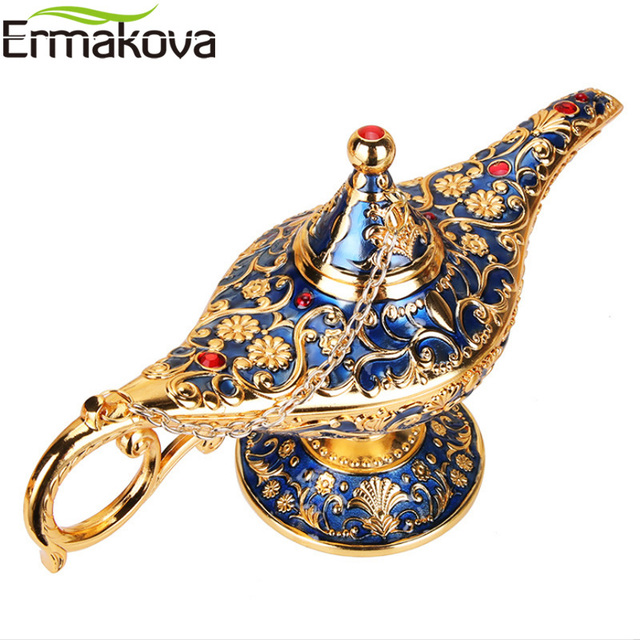 ERMAKOVA Large size Colorful Metal Genie Magic Lamp Retro Wishing Oil Lamp Pot Incense Burner Home Decor Collection Souvenir 2