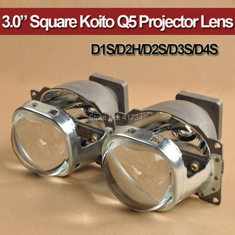 Hid Bi Xenon Projector Lens LHD 3.0 Square Koito Q5 35W Can Use with D1S D2S D2H D3S D4S for Car Headlight Retrofit Replace