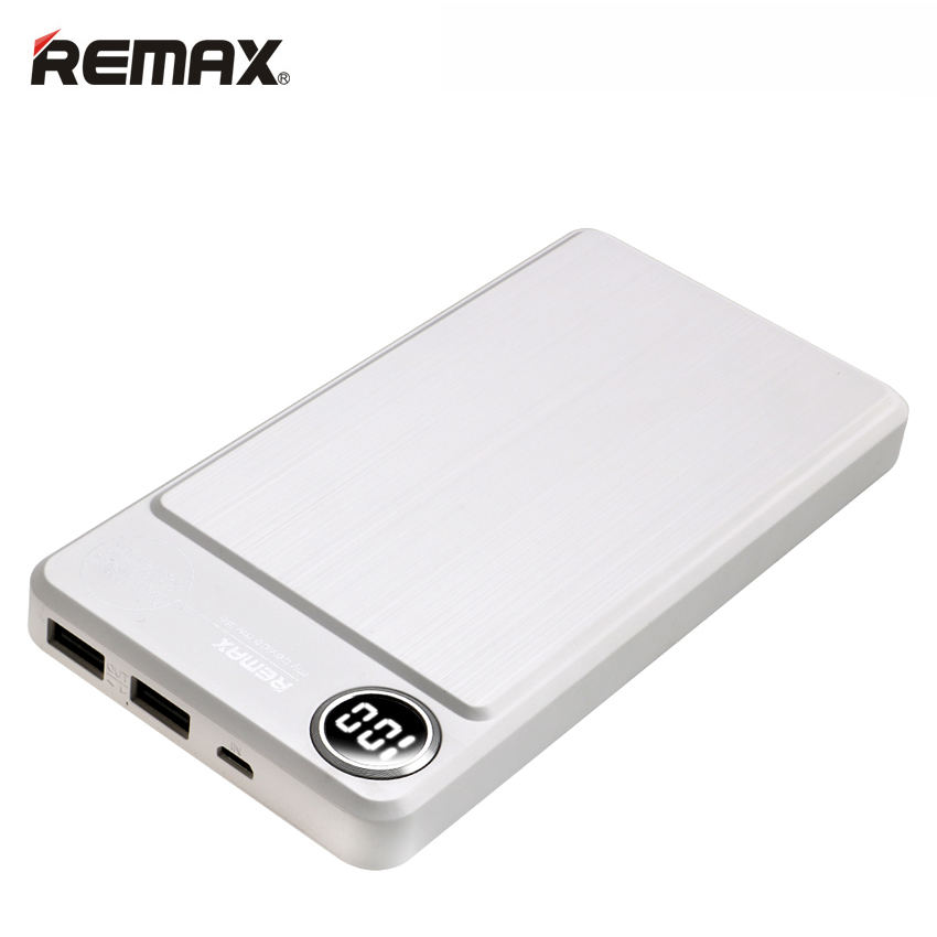 imágenes para Remax banco portable 20000 mah metal powerbank externa de la batería del teléfono móvil cargador de carga dual usb lcd externa bateria