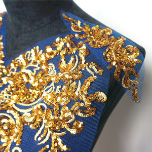 Image 5 - 1 Set Gold Sequined Appliques Red Blue Black Mesh Epaulette Embroidery Lace Fabric Wedding Sew On Patch For Dress DIY Decoration