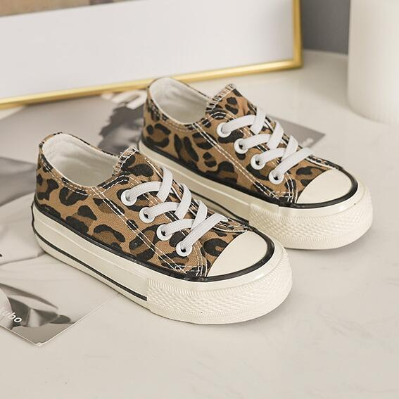 Children Casual Shoes Unisex Classic Fashion Girls Canvas Shoes Leopard Print Lace Up Sneakers For Boys New Soft Shoes