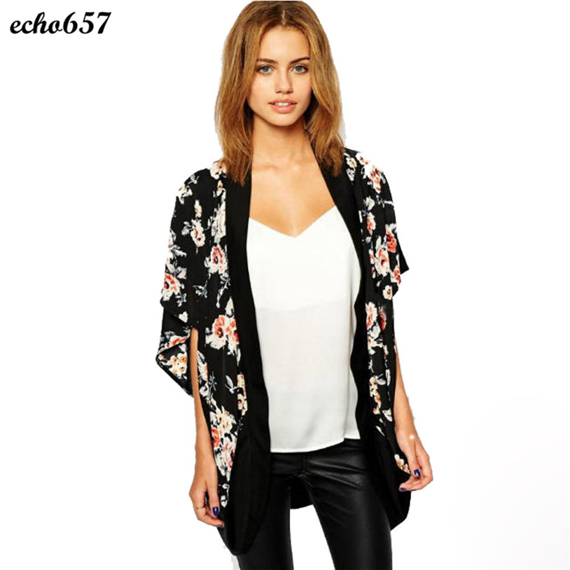 Hot Echo657 New Fashion Casual Women Floral Printed Splice Chiffon Shawl Kimono Cardigan Tops Cover up Nov 18