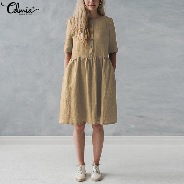 5c63924c5e Elegant Plus Size Vestido Celmia 2018 Women Summer Linen Shirt Dress Short  Sleeve Vintage Button Solid Casual Party Sundress
