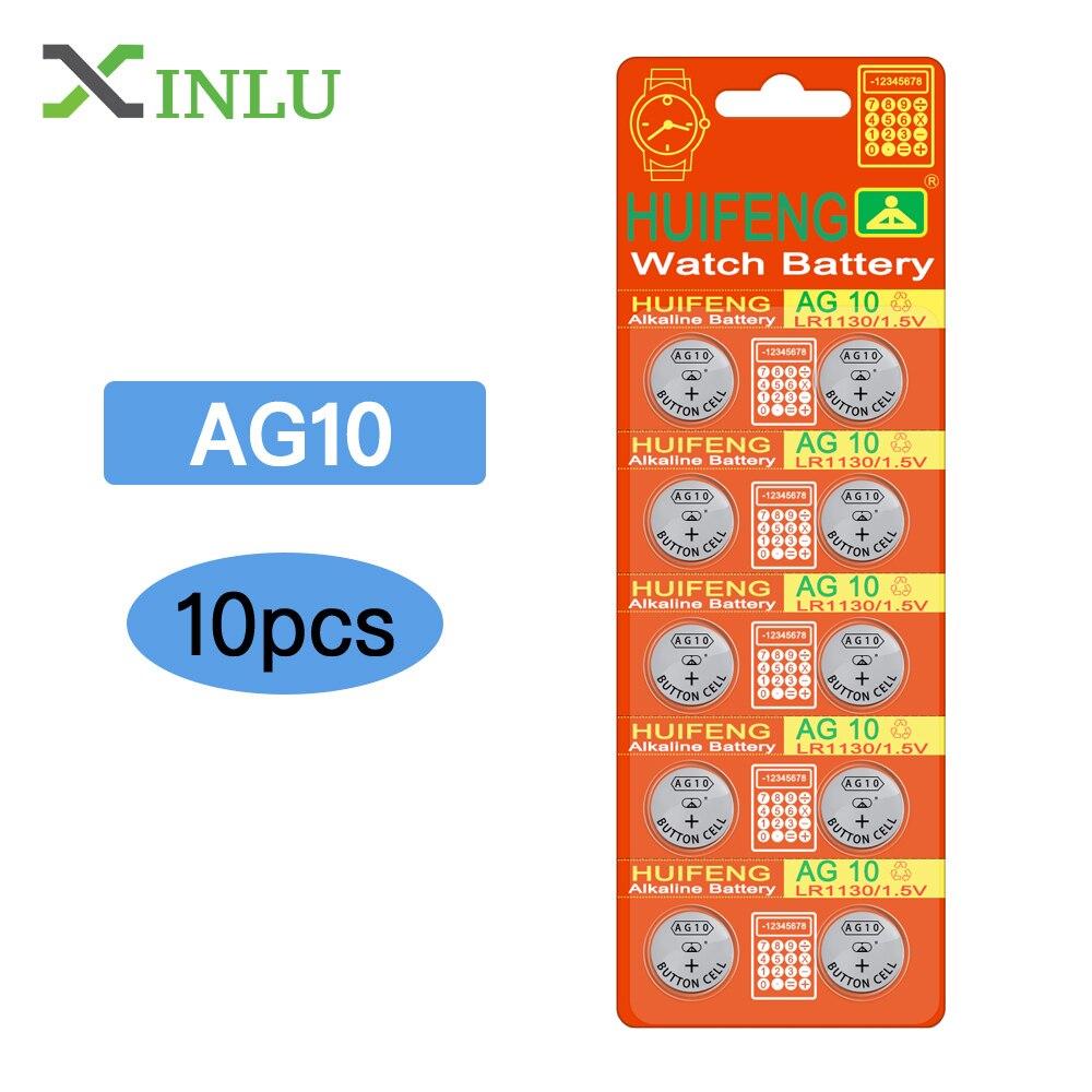 10pcs/lot AG10 LR1130 389 LR54 SR54 SR1130W 189 L1130 Button Cell Coin Battery For Watch,10pcs AG10 XINLU Battery