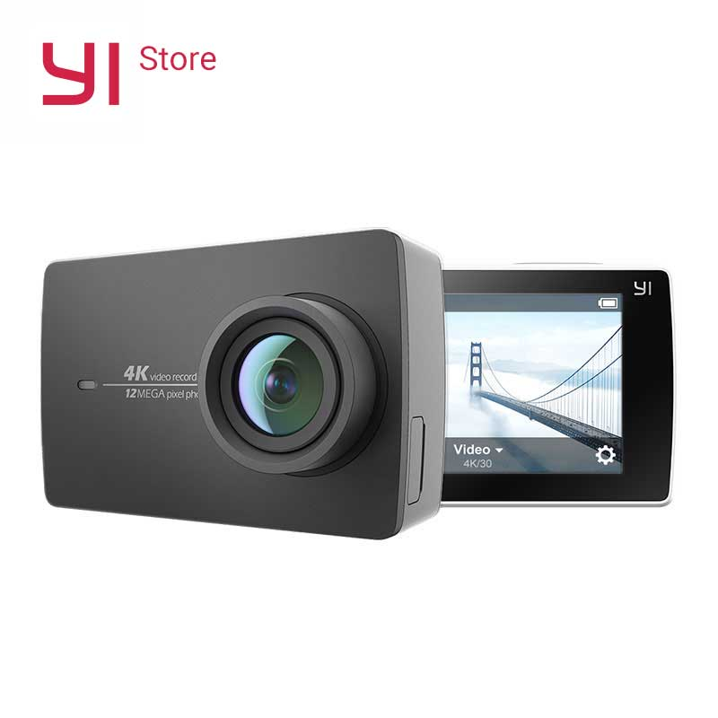 "YI 4K Action Camera 2,9 ""LCD 4K / 30fps Tøff skjerm 155 Degree EIS Wifi Black Internasjonal utgave Ambarella A9SE75 12MP CMOS"