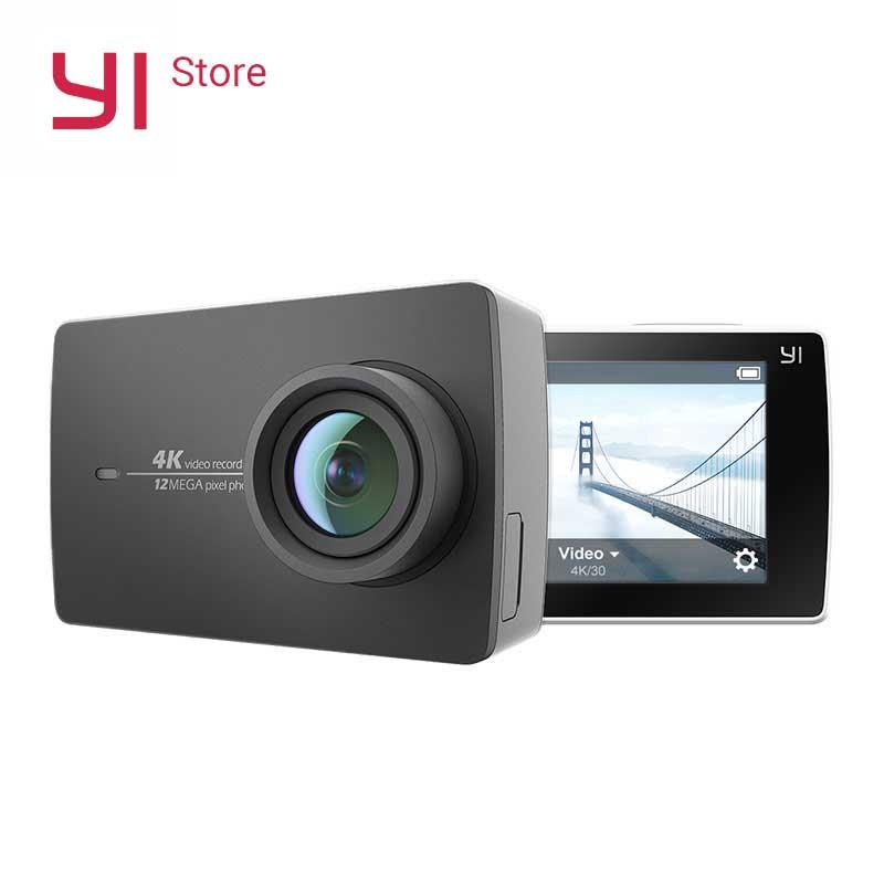 Yi 4 К действие Камера 2.19 ЖК-дисплей 4 К/30fps жесткие Экран 155 градусов EIS Wi-Fi Черный Международный издание Ambarella A9SE75 12MP CMOS