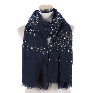 Image 3 - FOXMOTHER חדש אופנה שחור לבן כהה צבע רדיד רסיס כוכב שוליים צעיף חיג אב מוסלמי צעיף כורכת צעיפי כוכב נשים גבירותיי