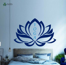 YOYOYU Wall Decal Namaste Yoga Studio Bedroom Decoration Vinyl Removeable Mandala Lotus  Sticker YO087