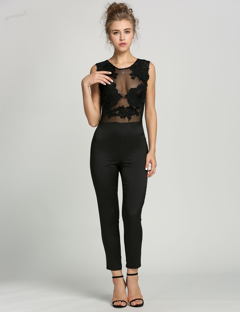 Sexy See-through lace up sleeveless sexy bodysuit Women tops black white long summer renda blusas OL jumpsuit rompers Clubwear