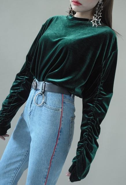 Mujeres otoño invierno de la manera superior de terciopelo terciopelo plisado elegante señoras de la camiseta del o-cuello de manga larga casual camiseta el envío libre