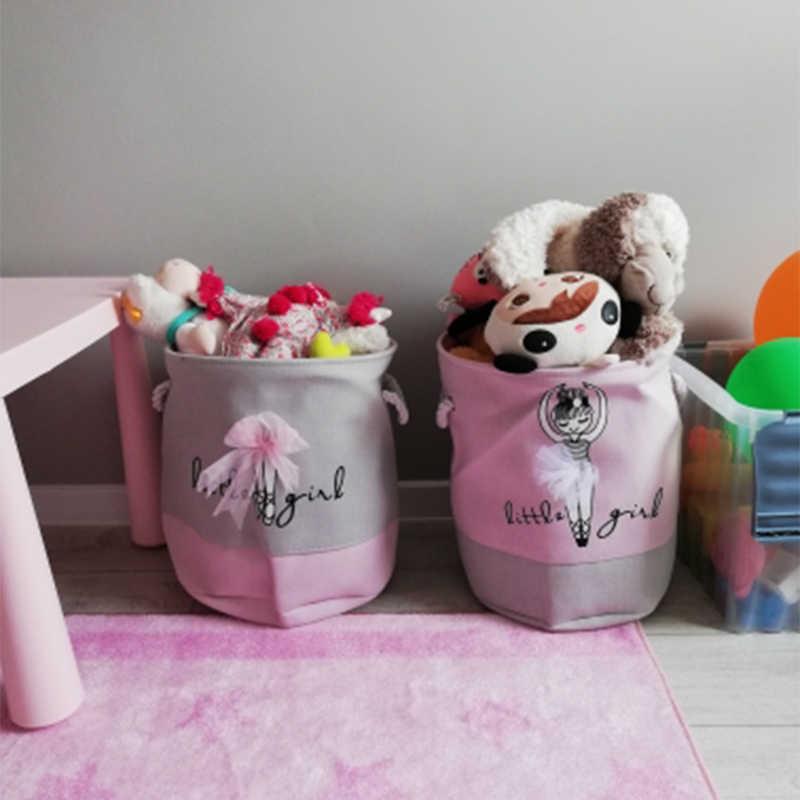 Linda Cesta Para Brinquedos De Armazenamento Dobrável Cesto De roupa de Pano Casa Ballet Meninas Padrão Grande Roupa Suja Cesta com Alças