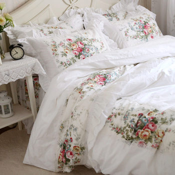 New pastorale ruffle lace bedding set elegant princess bedding matching duvet cover flower printed bedspread emboridery bedsheet
