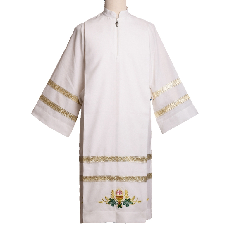 BLESSUME Cathedral Catholic White Robe Church Clergy Vestment Father Priest Chasuble Clerical Catholic Alb clergy omnibus