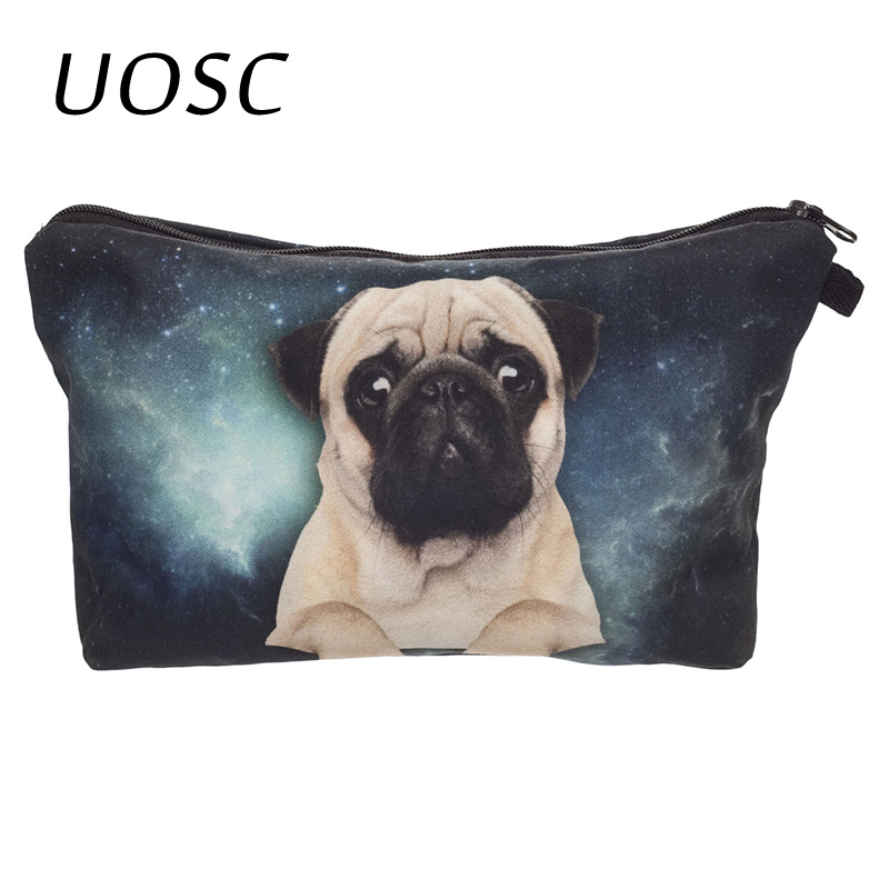 UOSC Pug Dog 3D Printing Pencil Bags Cosmetic Organizer 2018 Fashion New Makeup Bag Trousse De Maquillage Necessaire Women Pouch