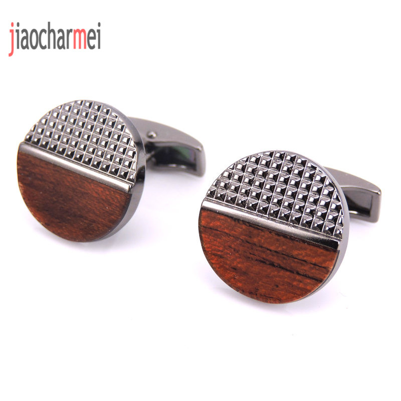 Free shipping  high quality men's fashion boutique brand CUFFLINKS NEW Red Wooden cufflinks, French shirt clothing accessories