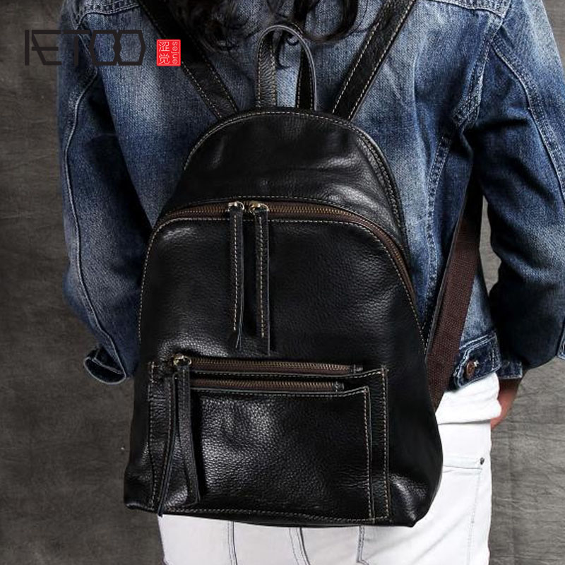 AETOO Simple college wind import the first layer of leather shoulder bag leather female backpack handmade original classicAETOO Simple college wind import the first layer of leather shoulder bag leather female backpack handmade original classic