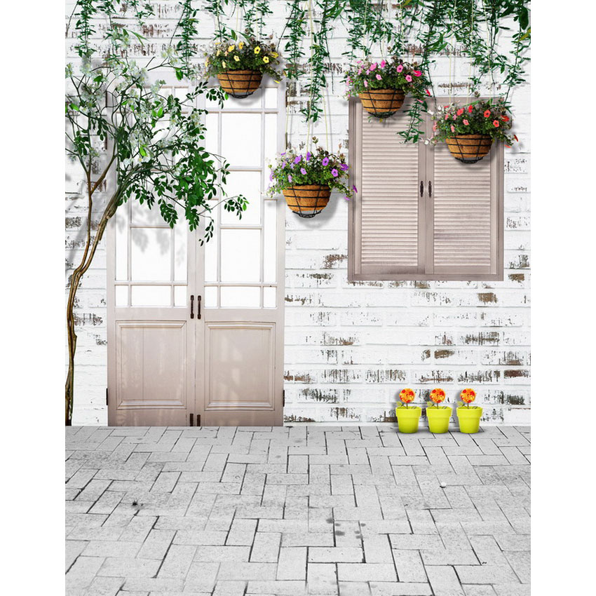 Vinyl photo background white brick wall garden house photography backdrops for photo studio photographic backgrounds S-2210 7x5ft vinyl photography background white brick wall for studio photo props photographic backdrops cloth 2 1mx1 5m