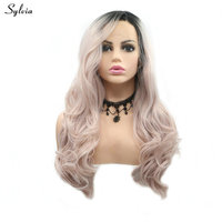 Sylvia Side Part Long Hair Body Wave Pastel Pink Wigs Ombre Short Dark Roots 2 Tone Synthetic Lace Front Wigs for Cosplay Makeup