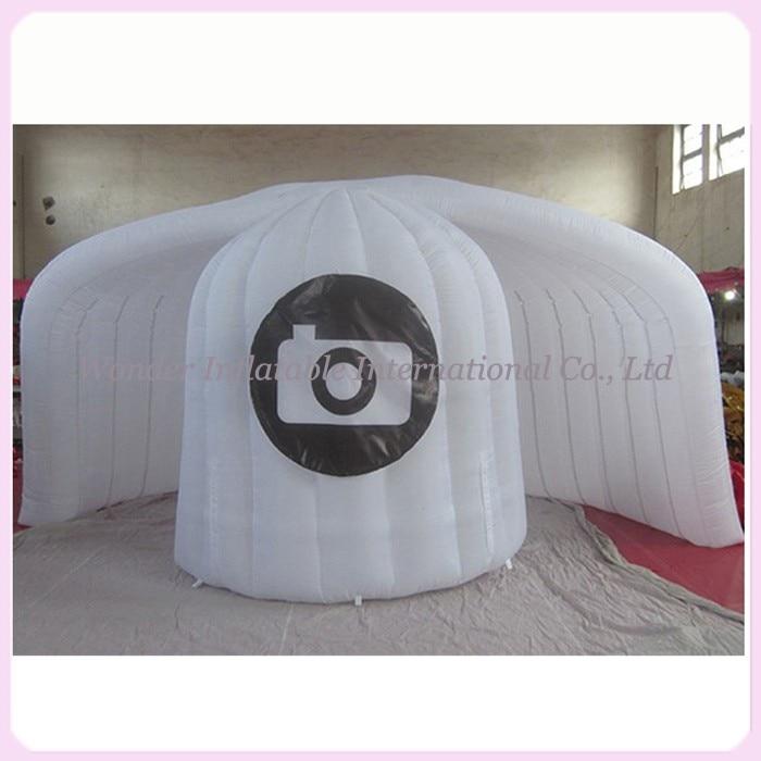 Bon marché accessoires de cabine de photo de mariage kiosque de cabine de photo gonflable toile de fond de cabine de photo de coquille avec des lumières menées