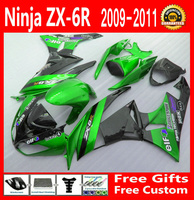 Metallic green ZX6R 2009 2011 2010 Fairing kit For Kawasaki ninja Fairings ZX 6R 09 10 11 Shipping EMS free g66